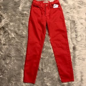 🆕 Zara Coral Red Mom Fit Jeans